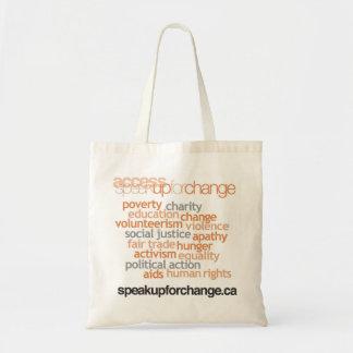 Hable para arriba para la bolsa de libros del camb
