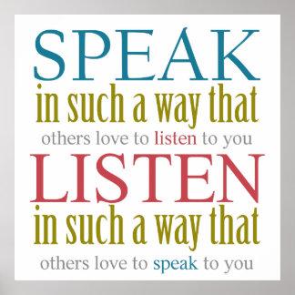 Hable y escuche poster colorido del diseño del póster