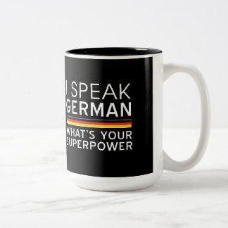 ¿Hablo alemán cuál es su superpotencia? Taza De Dos Tonos