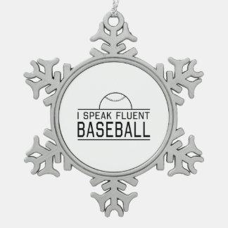 Hablo béisbol fluido adorno de peltre en forma de copo de nieve