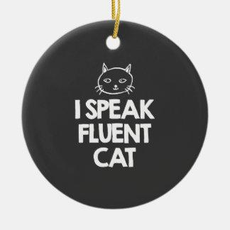 Hablo el gato fluido adorno navideño redondo de cerámica