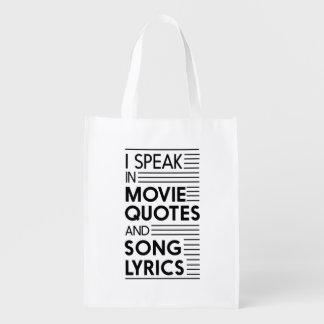 Hablo en citas de la película y letras de la bolsas reutilizables