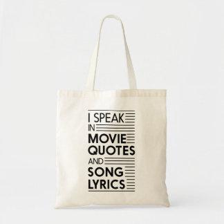 Hablo en citas de la película y letras de la bolsa tela barata
