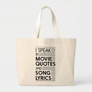 Hablo en citas de la película y letras de la bolsa tela grande