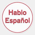 Hablo Español - hablo español Etiqueta Redonda