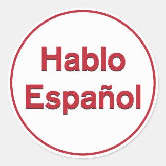 Hablo Español - hablo español Pegatina Redonda
