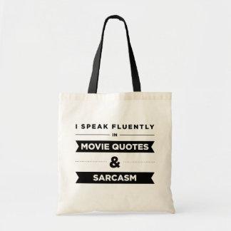 Hablo fluido en citas y sarcasmo de la película bolsa tela barata