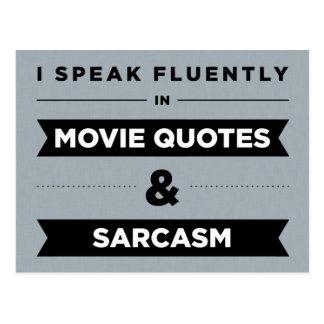 Hablo fluido en citas y sarcasmo de la película tarjetas postales
