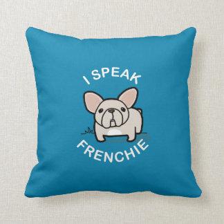 Hablo Frenchie - azul Cojin