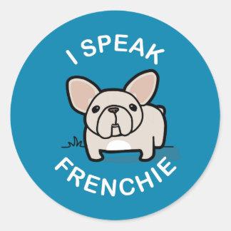 Hablo Frenchie - azul Pegatina Redonda