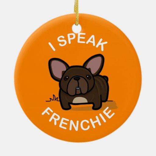 Hablo Frenchie - naranja Adorno Redondo De Cerámica