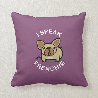 Hablo Frenchie - púrpura Cojin