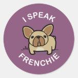 Hablo Frenchie - púrpura Etiqueta Redonda