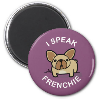 Hablo Frenchie - púrpura Imán Redondo 5 Cm