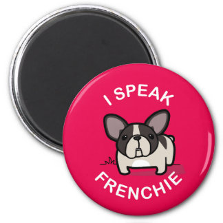 Hablo Frenchie - rosa Imán Redondo 5 Cm