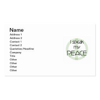 Hablo mis camisetas y regalos de la paz tarjetas de visita