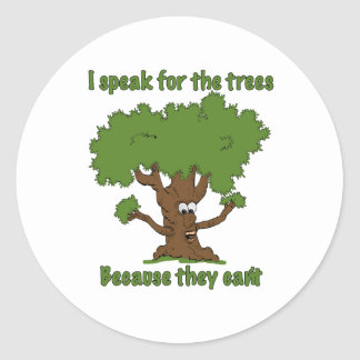 Hablo para los árboles pegatina redonda