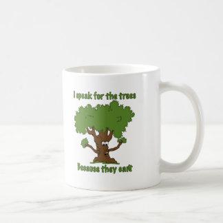 Hablo para los árboles taza básica blanca