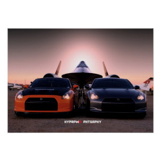 """Habu"" Nissan GT-R and SR-71 Blackbird Poster"