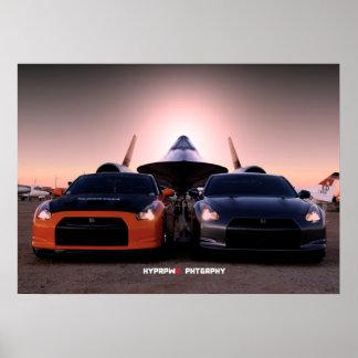"""Habu"" Nissan GT-R and SR-71 Blackbird Poster"