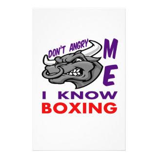 Hace no enojado, yo sabe el boxeo papeleria personalizada