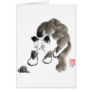 ¿Hacen los caracoles Sting? Gatito y caracol de Tarjeta De Felicitación