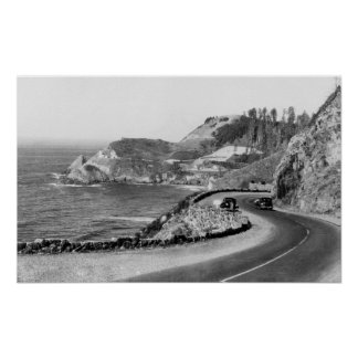 Hacenta Head Lighthouse and Oregon Coast Highway Poster