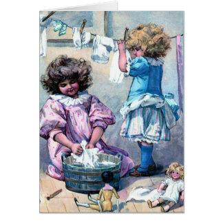 Hacer el lavadero de la muñeca tarjeta de felicitación