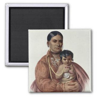 Hacer-Hon-Va, una mujer de Osage Imán Cuadrado