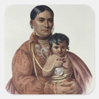 Hacer-Hon-Va, una mujer de Osage Pegatina Cuadrada
