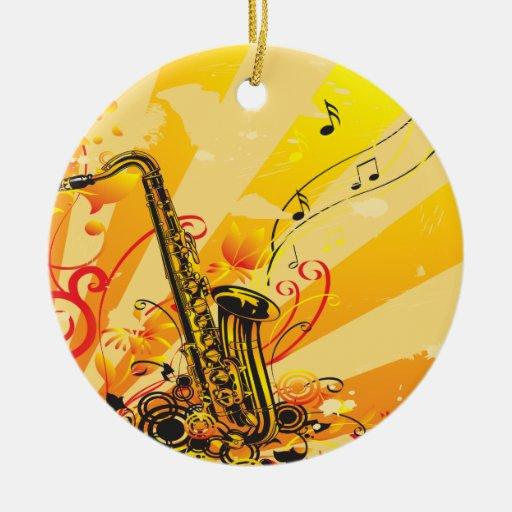 Haces chillones del saxofón de la música adorno navideño redondo de cerámica