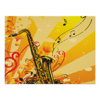 Haces chillones del saxofón de la música póster