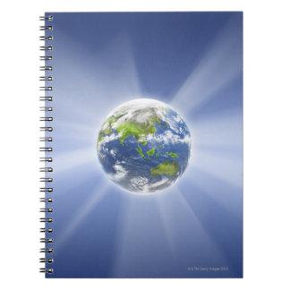 Haces luminosos de la tierra cuadernos