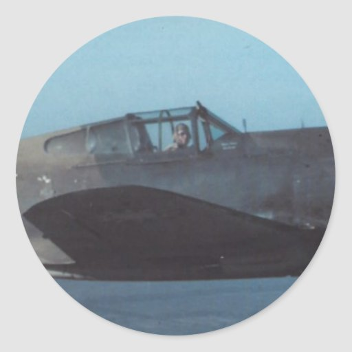 hacha de guerra de los curtiss P-40 Etiquetas Redondas