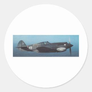 hacha de guerra de los curtiss P-40 Pegatina Redonda
