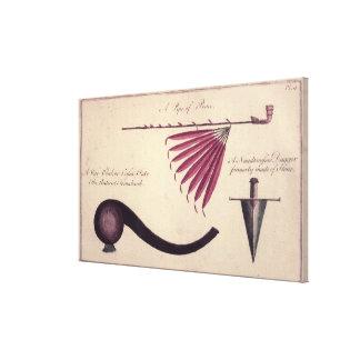 Hacha de guerra, tubo de paz y daga antiguos, c.15 impresión en lona