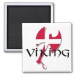 Hacha de la bandera de Viking Dinamarca del danés Imán De Nevera