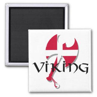 Hacha de la bandera de Viking Dinamarca del danés Imán Cuadrado