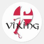 Hacha de la bandera de Viking Dinamarca del danés Etiqueta Redonda