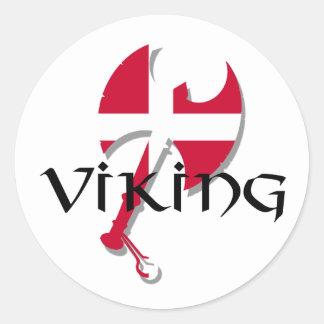 Hacha de la bandera de Viking Dinamarca del danés Pegatina Redonda