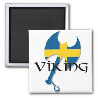 Hacha de la bandera de Viking Suecia del sueco Imán Cuadrado