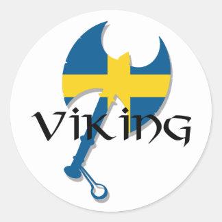 Hacha de la bandera de Viking Suecia del sueco Pegatina Redonda