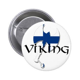 Hacha finlandesa de Suomi Viking de la bandera de  Pin Redondo De 2 Pulgadas