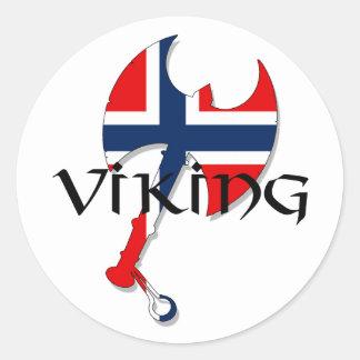 Hacha noruega de la bandera de Norge Noruega de Pegatinas Redondas
