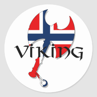 Hacha noruega de la bandera de Norge Noruega de Pegatina Redonda