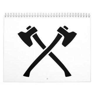 Hachas cruzadas calendarios de pared