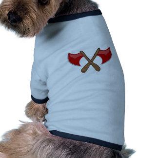 Hachas cruzadas camiseta de mascota