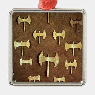 Hachas dobles miniatura ornamento para arbol de navidad