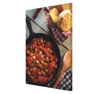 Hachís de la carne y de la patata con las galletas impresión en lienzo