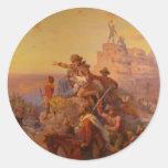 ¡Hacia el oeste Ho! - 1860 Pegatina Redonda